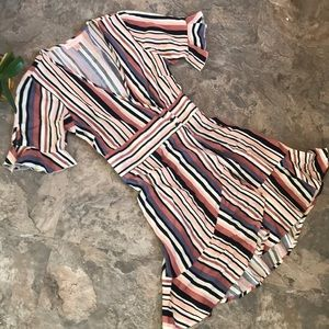 Striped wrap ruffle dress